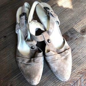NINE WEST Beige Suede Stacked High Heel Shoes ~ 10